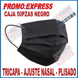 Cubrebocas plisados 3 capas ajuste nasal Negro