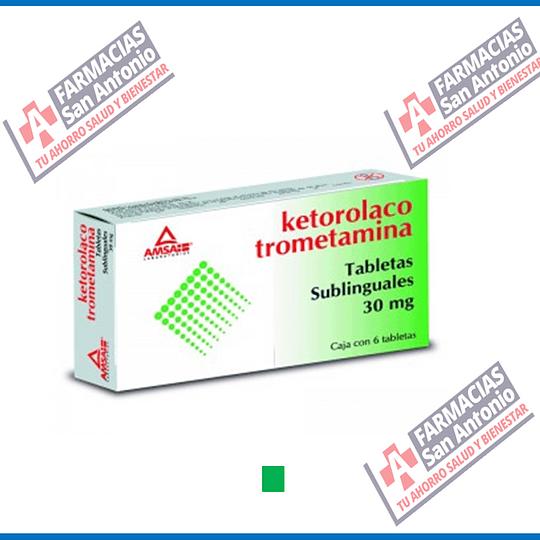 Ketorolaco  30mg 6 Tabletas sublingual