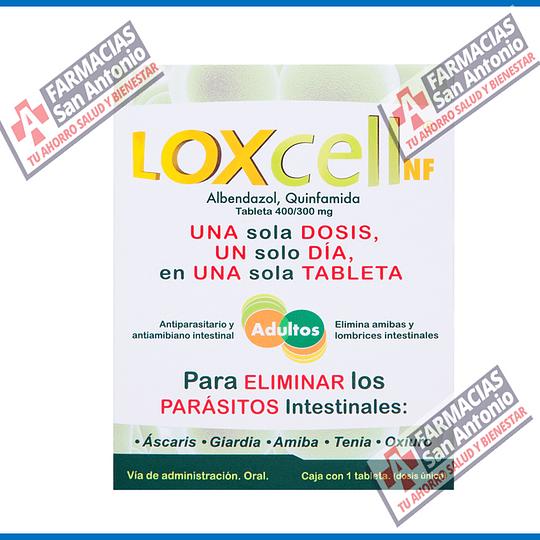 Loxcell nf  adulto una sola dosis  Áscaris , Glardia,Amiba ,Tenia,Oxiuro Promoción