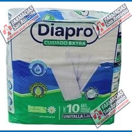 DIAPRO CUIDADO EXTRA unitalla con aroma a manzanilla con aloe vera  10 pañales pre doblados promoción