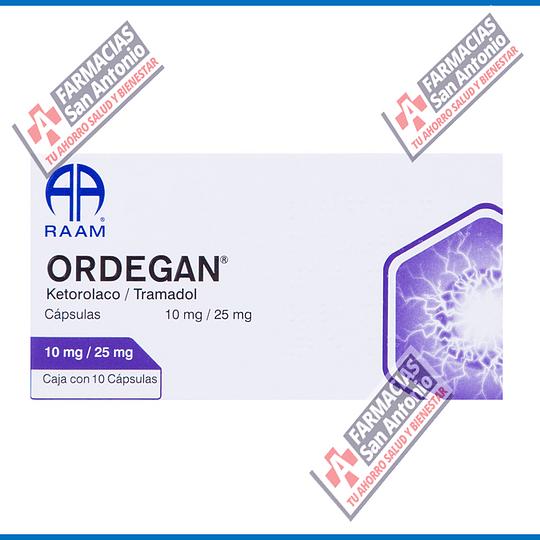 ORDEGAN KETOROLACO / TRAMADOL 10 mg / 25 mg  caja con 10 capsulas Promoción