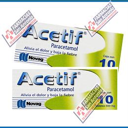 Paracetamol 500mg (10tabletas) acetif Promoción (2cajas)