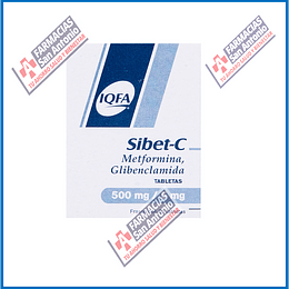 Sibet-C METFORMINA ,GLIBENCLAMIDA 500MG/5MG 60 TABLETAS Promoción