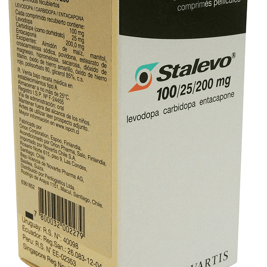 Stalevo Tableta Recubierta 100 /25/200 Mg por 30 Unidades