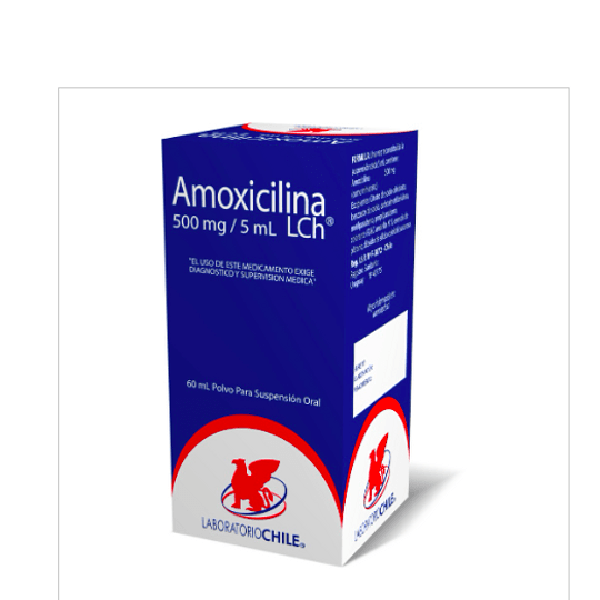 Amoxicilina 500 mg / 5 ml suspension  60 ml