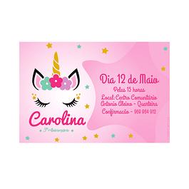 Convites Unicórnio Rosa
