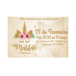 Convites Unicórnio Gold
