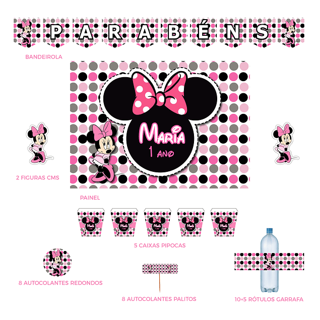Kit Festa Minnie Bolinhas