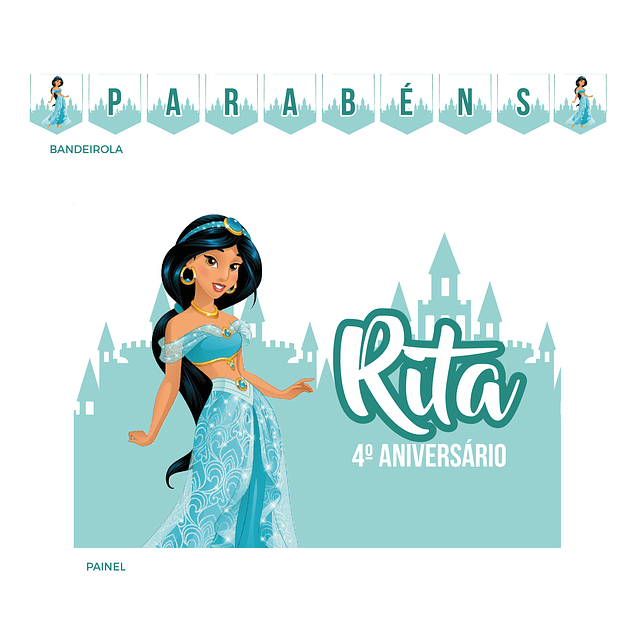 Kit Festa Princesa Jasmin