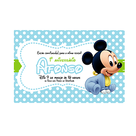 Convites Mickey Bebé