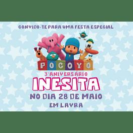 Convites Pocoyo Rosa