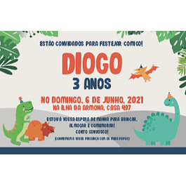Convites Dinossauros Infantil