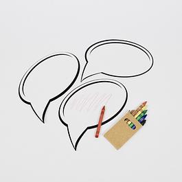 6 Placas Brancas c/ Lápis de Cera