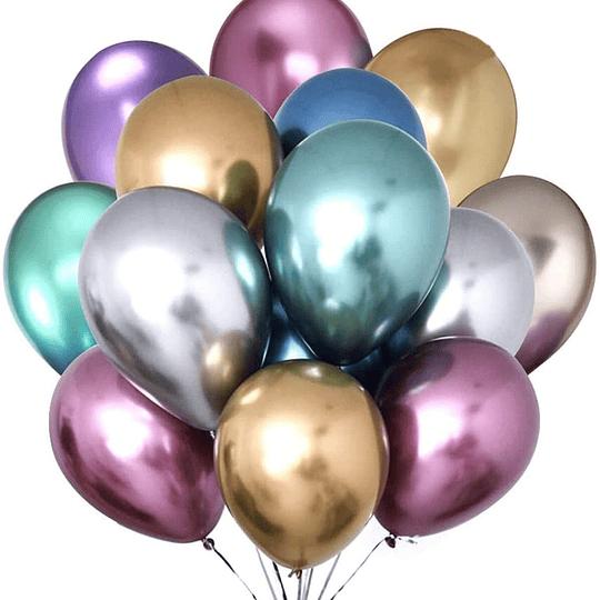 Globo Liso Glam 9 Cromado Colores Surtidos 12 Uni