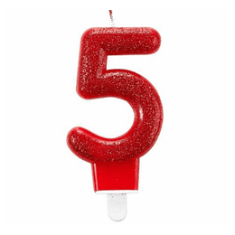 Vela Glitter Con Posavela Numero #5 1 Uni