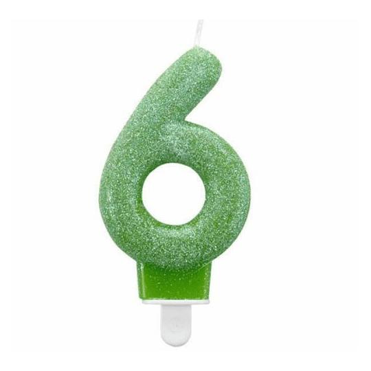 Vela Glitter Con Posavela Numero #6 1 Uni