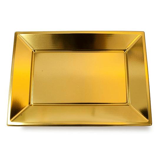 Bandeja Rectangular Metal Oro 3 Uni