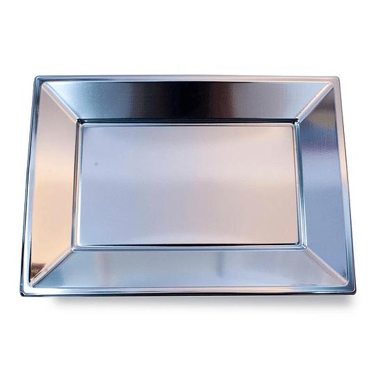 Bandeja Rectangular Metal Plata 3 Uni