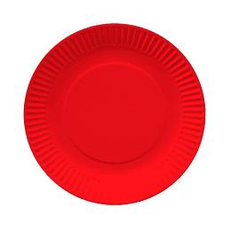 Plato Redondo Carton Rojo 18Cm 10 Uni