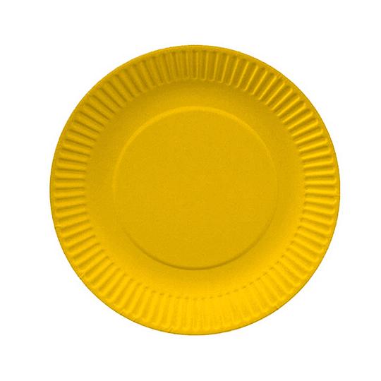 Plato Redondo Carton Amarillo 18Cm 10 Uni