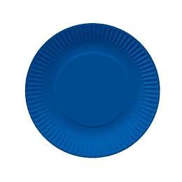 Plato Redondo Carton Azul 18Cm 10 Uni