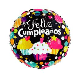 """Globo Foil 18"""" Feliz Cumpleaños Negro Torta 1 Uni"""
