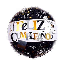 "Globo Foil 18"" Feliz Cumpleaños Negro/Dorado 1 Uni"
