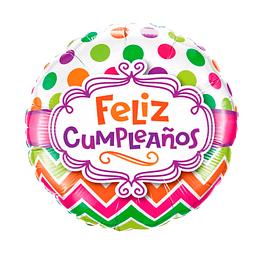 """Globo Foil 18"""" Feliz Cumpleaños Blanco Puntos Col 1 Uni"""