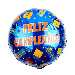 """Globo Foil 18"""" Feliz Cumpleaños Azul Regalos 1 Uni"""
