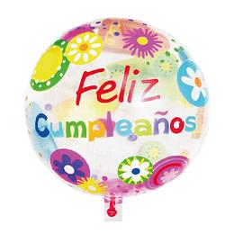 """Globo Transparente 18"""" Feliz Cumpleaños Flowers 1 Uni"""