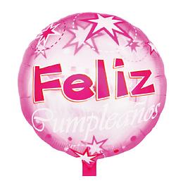 """Globo Transparente 18"""" Feliz Cumpleaños Pink 1 Uni"""