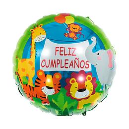 "Globo Foil 18"" Feliz Cumpleaños Animales Selva 1 Uni"