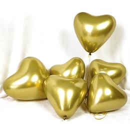 Globo Corazón Dorado Cromo 6 Uni