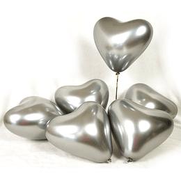 Globo Corazón Plateado Cromo 6 Uni