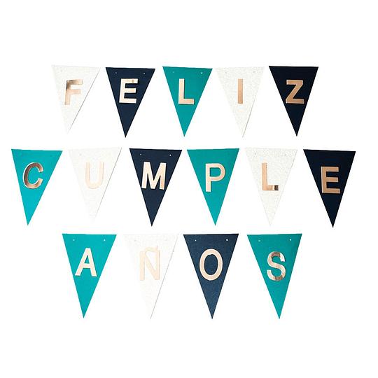 Set Banderines Feliz Cumpleaños Relieve Plateado 1 Uni