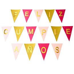 Set Banderines Feliz Cumpleaños Relieve Dorado 1 Uni
