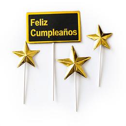 Set Picks Feliz Cumpleaños Neg/Dor C/Estrellas 1 Uni