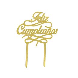 Deco Torta Feliz Cumpleaños Dorado 1 Uni