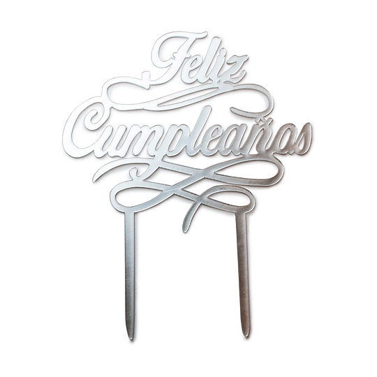 Deco Torta Feliz Cumpleaños Plateado 1 Uni