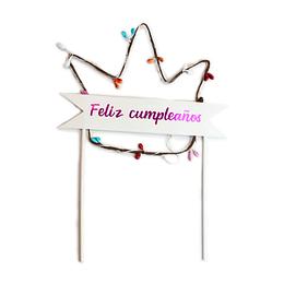 Deco Torta Corona Feliz Cumpleaños Con Luz 1 Uni
