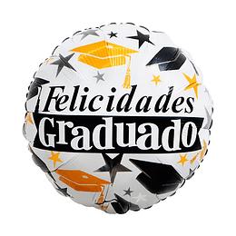 "Globo Foil 18"" Felicidades Grad 1 Uni"