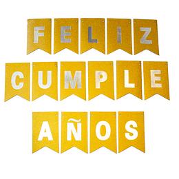 Guirnalda Banderin Feliz Cumpleaños Dorada 3M 1 Uni