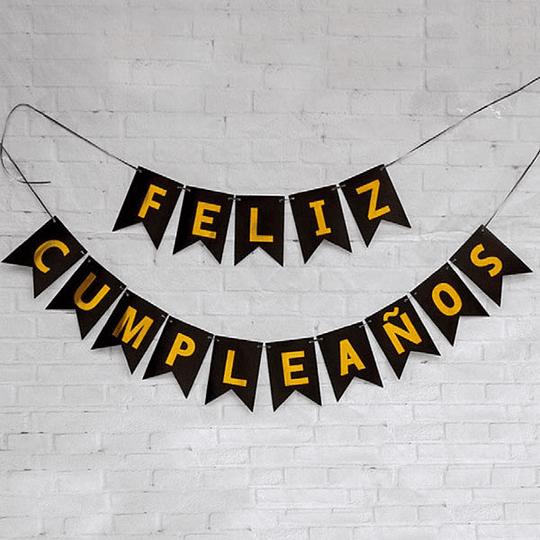 Guirnalda Banderin Feliz Cumpleaños Negra 3M 1 Uni