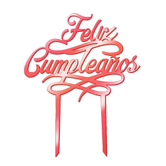 Deco Torta Feliz Cumpleaños Rosa Metal 1 Uni
