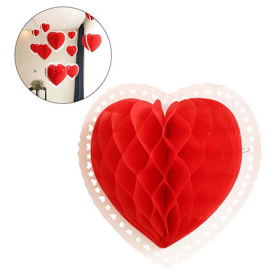 Deco Honeycomb Corazón 25 cm. Borde Blanco 1 Uni