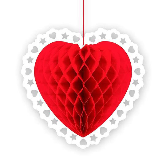 Deco Honeycomb Corazón 30Cm Borde Blanco 1 Uni