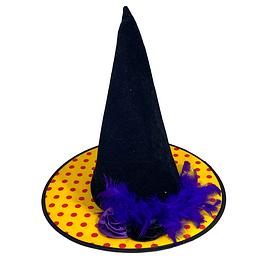 Sombrero Bruja Negro Amarillo y Flores 1 Uni