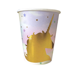 Vaso Unicorn Rayas Pastel Dorado 6 Uni