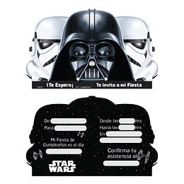 Tarjetas De Invitacion Star Wars 6 Uni