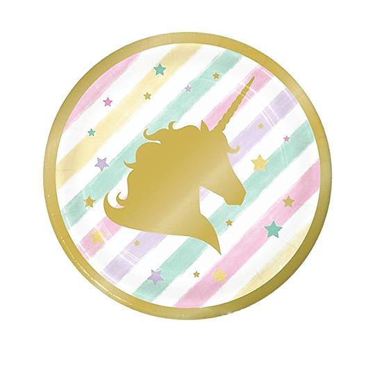 Plato 18Cm Unicorn Rayas Pastel Dorado 6 Uni